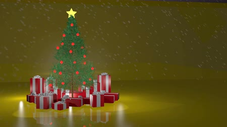 рождественская елка : Christmas tree reising gold background