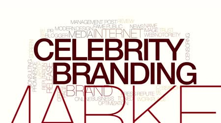 branding : Celebrity branding geanimeerde word cloud. Stockvideo