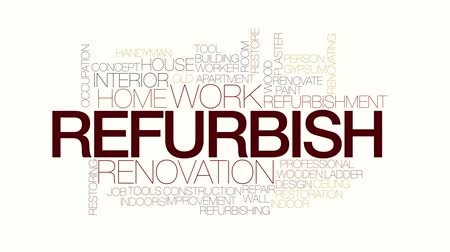 interiér : Refurbish animated word cloud. Kinetic typography.