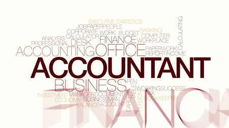 бухгалтер : Accountant animated word cloud. Kinetic typography.