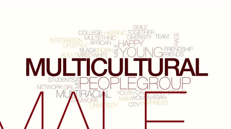 multirracial : Multicultural animated word cloud. Kinetic typography.