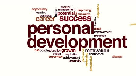 mudança : Personal development animated word cloud Stock Footage