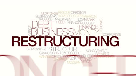 yeniden yapılanma : Restructuring animated word cloud. Kinetic typography. Stok Video