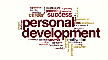 supervisor : Personal development animated word cloud Stock Footage