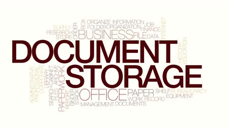 burocracia : Document storage animated word cloud. Kinetic typography. Stock Footage
