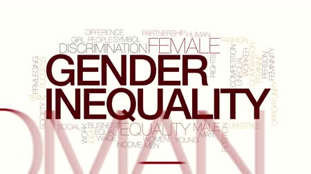 pozisyon : Gender inequality animated word cloud. Kinetic typography.