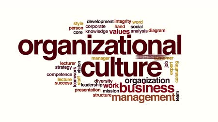 overleggen : Organisatiecultuur geanimeerde word cloud Stockvideo