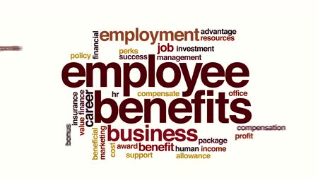 waarden : Employee benefits geanimeerde word cloud Stockvideo