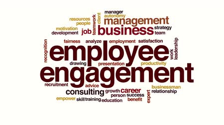overleggen : Employee engagement geanimeerde word cloud.
