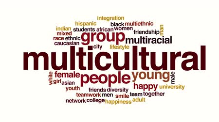 multikulturális : Multicultural animated word cloud. Stock mozgókép