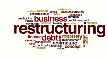 financiele crisis : Herstructurering geanimeerde word cloud. Stockvideo