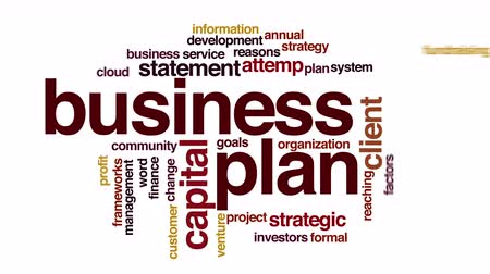 cíle : Business plan animated word cloud. Zoom out element. Dostupné videozáznamy