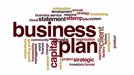 woorden : Business plan geanimeerde word cloud. Vliegende woorden. Stockvideo