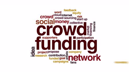 financování : Crowdfunding animated word cloud. Zoom out element.