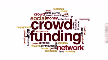 initiator : Crowdfunding animated word cloud. Flying words.