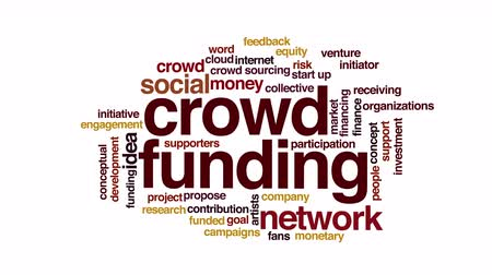 menigte : Crowdfunding geanimeerde word cloud Stockvideo