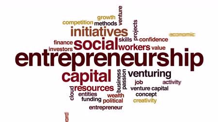 financial : Entrepreneurship animated word cloud. Zoom out element.