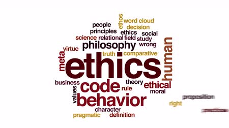 caracteres : Ethics animated word cloud. Zoom out element.