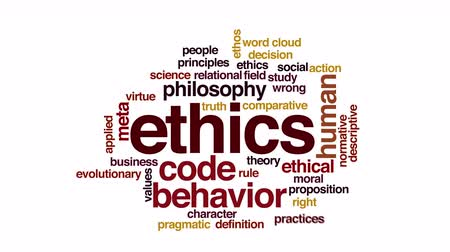 fazilet : Ethics animated word cloud. Flying words. Stok Video
