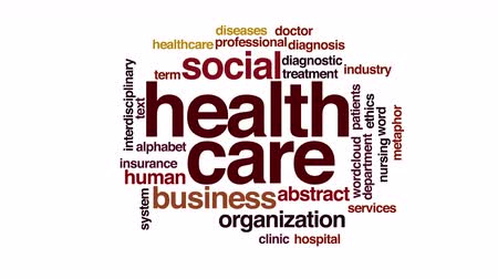 hemşirelik : Healthcare animated word cloud. Flying words. Stok Video