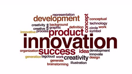 újító : Innovation animated word cloud. 3d camera move. Stock mozgókép