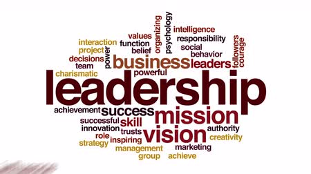 business values : Leadership animated word cloud. Flying words.
