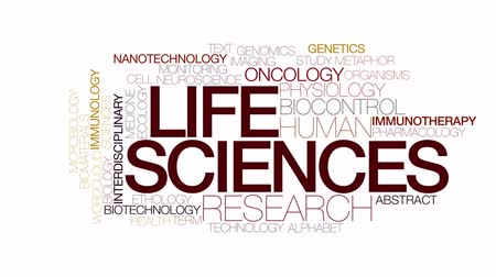 oncology : Life sciences animated word cloud. Kinetic typography.
