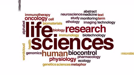 farmacologia : Life sciences animated word cloud. Flying words.
