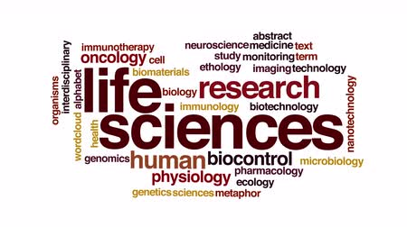 oncology : Life sciences animated word cloud. 3d camera move. Stock Footage