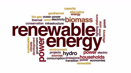 renovável : Renewable energy animated word cloud. Flying words. Vídeos