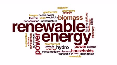 renovável : Renewable energy animated word cloud. 3d camera move. Vídeos
