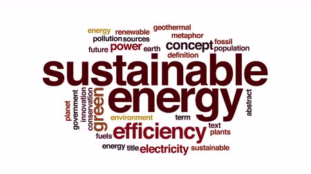 sustentável : Sustainable energy animated word cloud. Zoom out element. Stock Footage