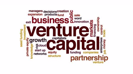 financování : Venture capital animated word cloud. Flying words. Dostupné videozáznamy
