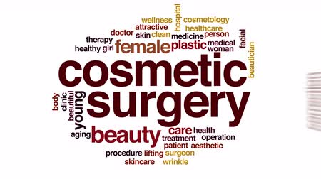 obličejový : Cosmetic surgery animated word cloud.