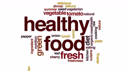 tomate cereja : Healthy food animated word cloud.