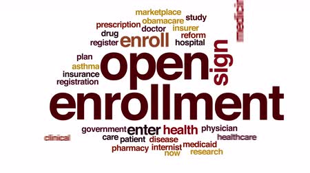 enrollment : Open enrollment animated word cloud.