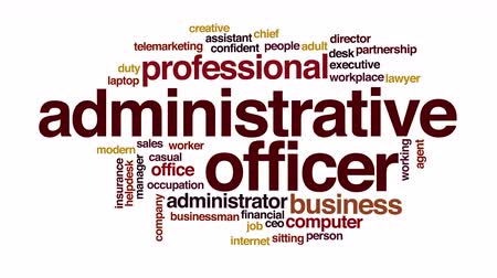 ügyintézés : Administrative officer animated word cloud.
