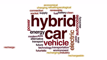 recharging : Hybrid car animated word cloud.