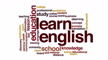 подготовке : Learn English animated word cloud.