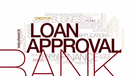 имущество : Loan approval animated word cloud. Kinetic typography.