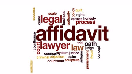 deneme : Affidavit animated word cloud. Stok Video