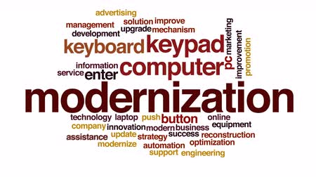 вводить : Modernization animated word cloud.