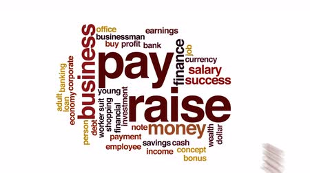 pieniądze : Pay raise animated word cloud.