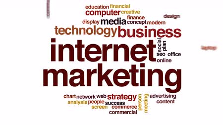 рекламный : Internet marketing animated word cloud.