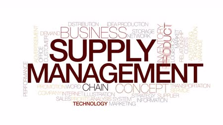 leverancier : Supply management geanimeerde word cloud. Kinetic typografie.