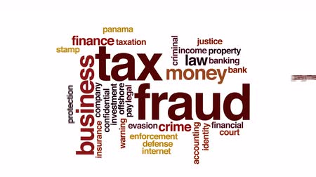 law enforcement : Tax fraud animated word cloud.