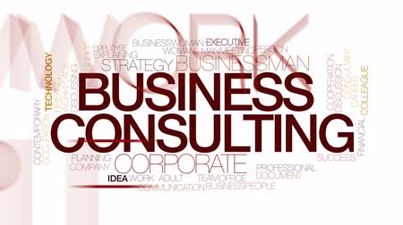 overleggen : Business consulting geanimeerde word cloud. Kinetic typografie.