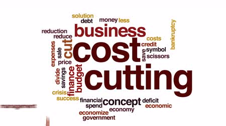 hiány : Cost cutting animated word cloud.