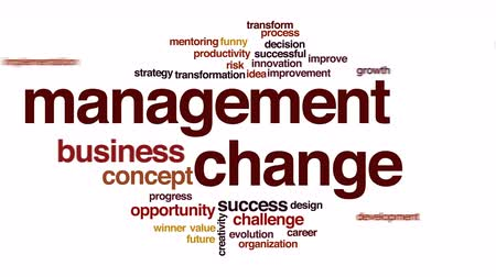 business values : Management change animated word cloud.