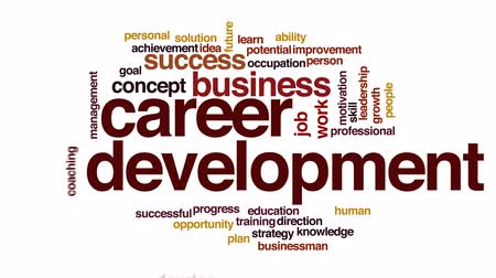 przywództwo : Career development animated word cloud.